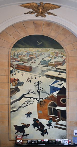 Treasury Relief Art Project - Suburban Post in Winter (1938), mural by William Gropper for the post office in Freeport, New York