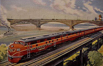 Gulf, Mobile and Ohio Railroad - Streamliner circa 1940s between Chicago and St. Louis.