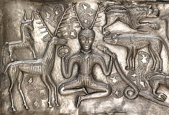 "Ancient Celtic religion - Image of a ""horned"" (actually antlered) figure on the Gundestrup cauldron, interpreted by many archaeologists as being cognate to the god Cernunnos."