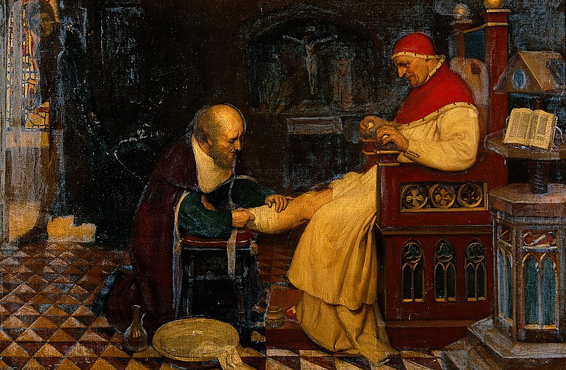 File:Guy de Chauliac bandaging the leg of Pope Clement VII at Avi Wellcome V0018148.jpg