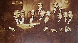 Antonio Guzmán Blanco - Guzman (center forefront) and his cabinet