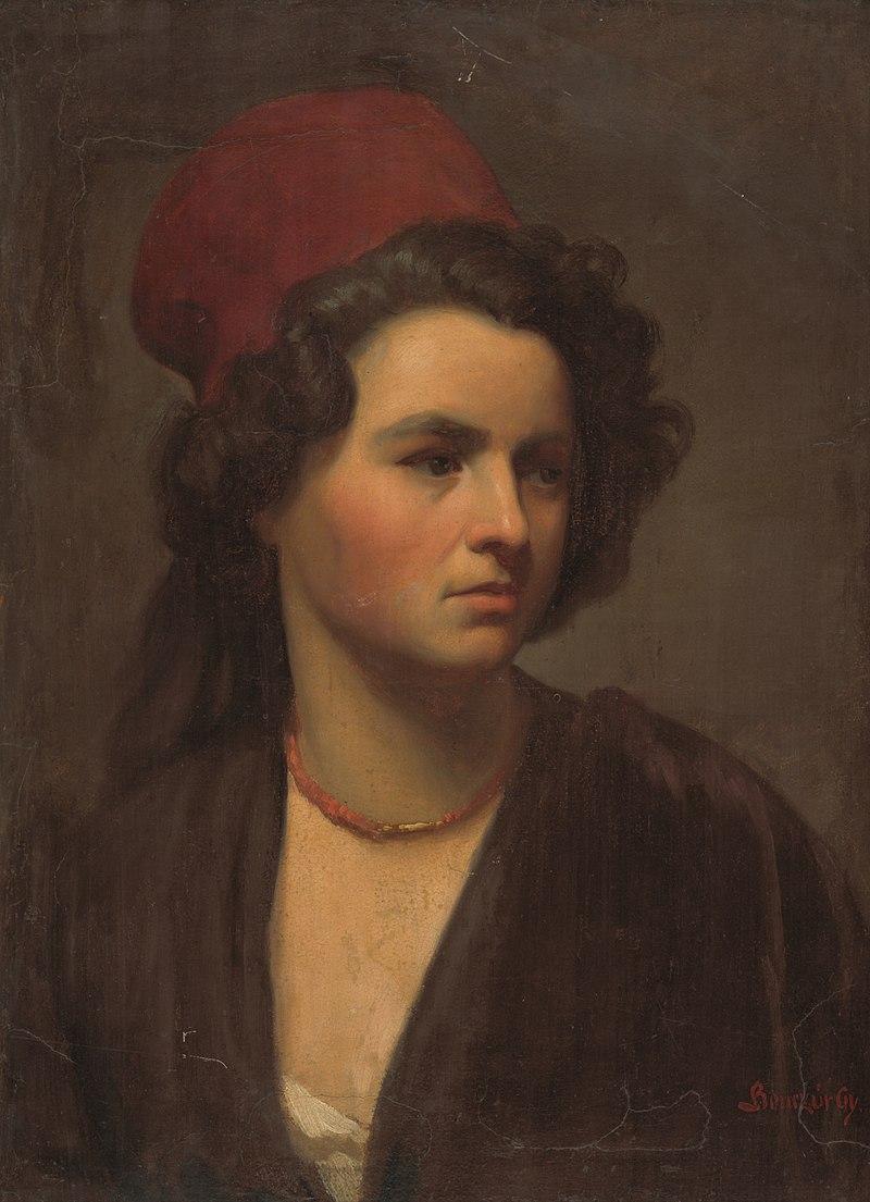 Gyula Benczúr - Podobizeň dievčaťa v červenej šatke. - O 138 - Восточно-Словацкий Gallery.jpg