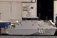 HMPNGS Ted Diro (P401) in the Austal shipyards in Henderson, Western Australia.jpg