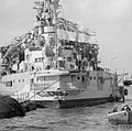 HMS QUEEN ELIZABETH FLIES THE ENSIGN AT HALF MAST FOR HRH THE DUKE OF CONNAUGHT. 20 JANUARY 1942, ON BOARD THE FLAGSHIP AT ALEXANDRIA. A8016.jpg