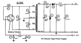 Vibrator (electronic) - Schematic diagram of a typical circuit to convert low voltage DC to high voltage DC