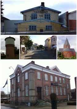 From left: The Old Maskinsnedkeri, Hadsund Water Tower, Storegade (Street), Hadsund Church and the historic building Hadsund Bank.