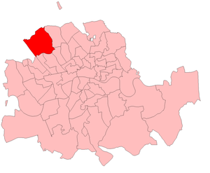 Hampstead (UK Parliament constituency) - Hampstead in the Metropolitan area, boundaries used 1885-1918