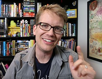 Hank Green - Green addressing the camera in a vlog component of a 2016 Vlogbrothers video.