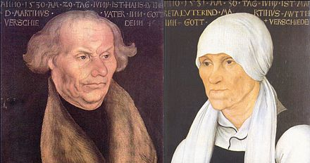 Portraits of Hans and Margarethe Luther by Lucas Cranach the Elder, 1527 Hans and Margarethe Luther, by Lucas Cranach the Elder.jpg