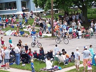 Harvard, Illinois - People gathered for the Harvard, Illinois Milk Days Parade. June 2, 2007