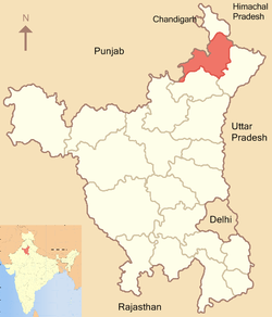 Location of Ambala district in Haryana