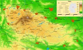 Carte topographique du Harz.