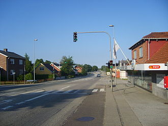 Hasselager - Hasselager. The main road of Hovedvejen.