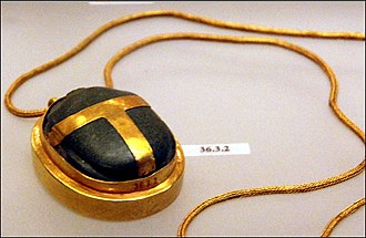Ancient Egyptian concept of the soul - This exquisite gold and green stone heart scarab belonged to Hatnofer, the mother of the prominent 18th dynasty state official Senenmut, who served under the female king and pharaoh Hatshepsut. The tomb of Ramose and Hatnofer was found intact by archaeologists at Sheikh Abd el-Qurna, in Thebes. The scarab is today on display at the Metropolitan Museum of Art