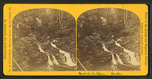 Lehigh Gorge State Park - Historic Stereoscopic view of the Glen Onoko Falls on the Lehigh River through the nature-destroyed remains of the former lower lock just above navigable (slack) waters in the Lehigh.