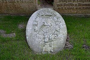 Order of the Elephant - The Blome family coat of arms with the Order's collar on gravestone in Heiligenstedten