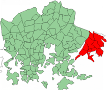 Position of Vuosaari within Helsinki