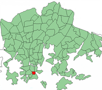 Position of Kaartinkaupunki within Helsinki