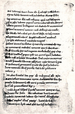 A carefully handwritten page with 27 lines of text arranged into a bit more than 4 paragraphs. Each line contains about 8 lower case Latin words. No illustrations, just lines of black text on cream coloured parchment.