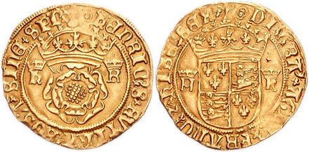 Gold crown of Henry VIII, minted c. 1544-1547. The reverse depicts the quartered arms of England and France. Henry VIII crown 763986.jpg