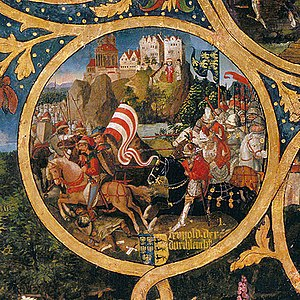 Leopold I, Margrave of Austria - Leopold the Illustrious fighting the Magyars and defending Melk, Babenberger Stammbaum, Klosterneuburg Monastery, 1489–1492