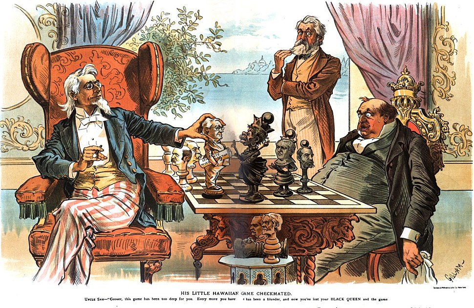 His Little Hawaiian Game Checkmated political cartoon 1894 (retouched)