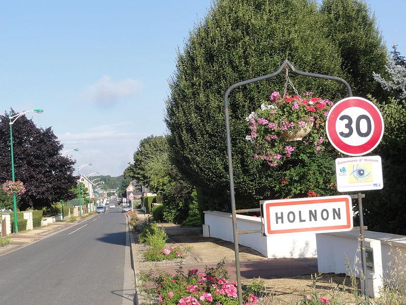 Holnon (Aisne) city limit sign