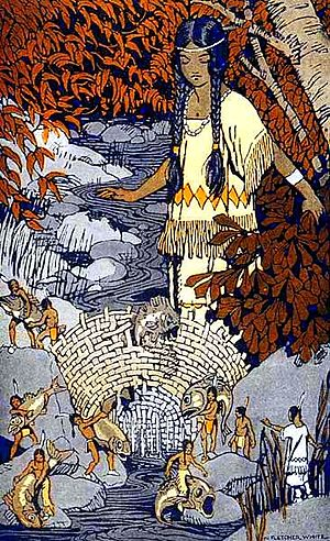 "Little people (mythology) - ""How Morning Star Lost Her Fish"", from Stories the Iroquois Tell Their Children by Mabel Powers, 1917"