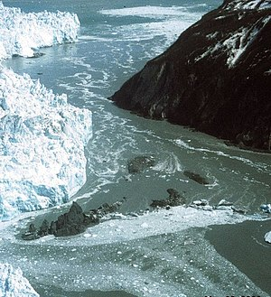 Glacial lake outburst flood - Hubbard Glacier, Alaska squeezes towards Gibert Point on 20 May 2002. The glacier is close to sealing off Russell Fjord (top) from Disenchantment Bay (below).
