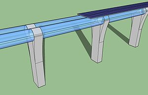 Hyperloop - A 3D sketch of the Hyperloop infrastructure. The steel tubes are rendered transparent in this image.