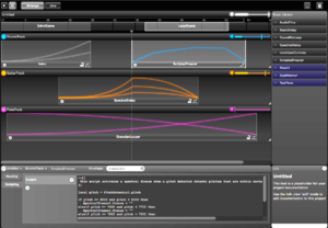Integra Live - Integra Live 1.6.4 screenshot showing Arrange View with Tracks, Blocks, Envelopes, Scripting, Info View, Scenes and Block Library
