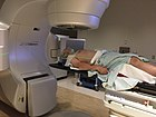 Photograph of patient receiving radiation for oropharyngeal cancer