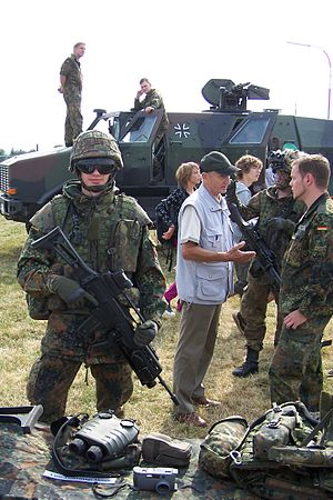 Infanterist der Zukunft - A German Army soldier demonstrates some of the equipment of the IdZ program.