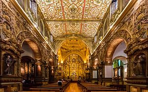 Church and Convent of St. Francis, Quito - Interior of the Church of San Francisco, Quito.
