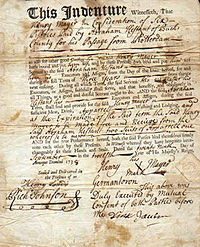 An indentured servant's contract