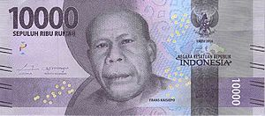 Frans Kaisiepo - The Rp10,000 banknote depicting Frans Kaisiepo