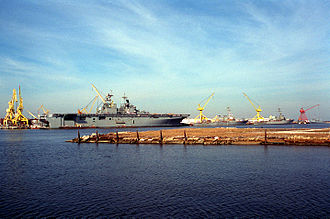 Pascagoula, Mississippi - A section of the Ingalls Shipbuilding Company showing various US Navy ships under construction