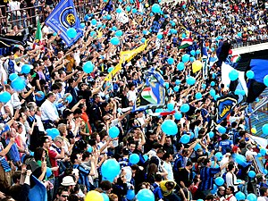 Internazionale fans celebrating their 2007 scu...
