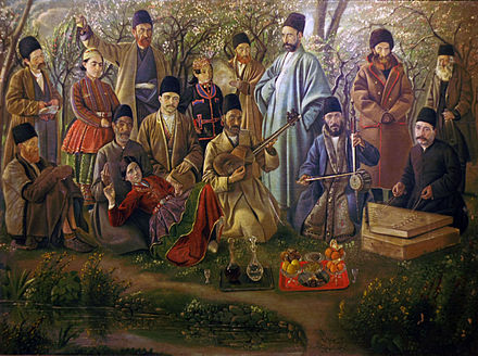 A musical ensemble from the time of Qajar ruler Naser-ed-Din Shah, depicted by Kamal-ol-molk. IranianMusicGroup.jpg