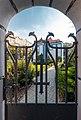 Iron gate next to the Church of St. Elisabeth (Blue Church) (Bratislava, Slovakia) julesvernex2.jpg