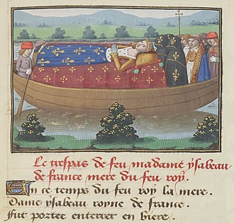 Siege of Saint-Denis - 15th century illustration (from Vigiles de Charles VII) of Isabeau of Bavaria being carried through the Seine to be buried at Saint-Denis