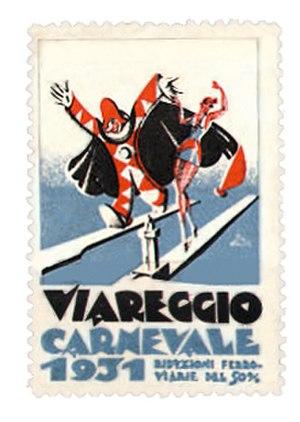 Carnival of Viareggio - Promotional cinderella stamp, Italy, 1931.