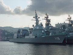 JS Akizuki (DD-115) - starboard view