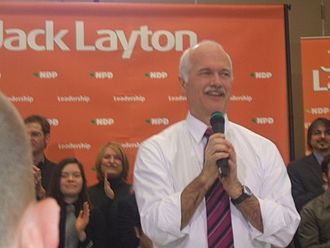Jack Layton - Jack Layton giving a speech on the 5th anniversary of his leadership of the NDP.