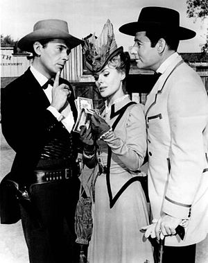 Mike Road - Road (right) as Pearly Gates with Jack Kelly and Kathleen Crowley in Maverick (1962)