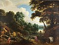 Jacques d'Arthois - Wooded landscape with Diana and her nymphs hunting a stag.jpg