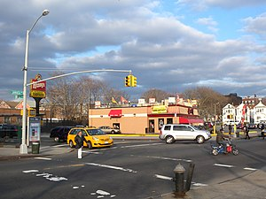 Queens Boulevard - Queens Boulevard starts off as a small 2-lane street at Jamaica Avenue, but becomes a 6 lane median-divided street at Hillside Avenue one block north.