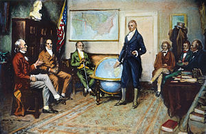Presidency of James Monroe - James Monroe, standing, presides over a cabinet meeting in 1823. Seated left to right are John Quincy Adams, William H. Crawford, William Wirt, John C. Calhoun, Daniel D. Tompkins, and Smith Thompson.