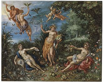 Hendrick de Clerck - Hendrick De Clerck and Jan Brueghel the Elder, Abundance and the Four Elements, 1606. Madrid, Museo Nacional del Prado.