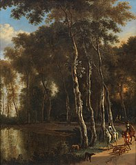 A hawking party on a woodland path